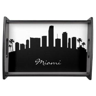 Black and White Miami Skyline Serving Tray