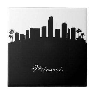 Black and White Miami Skyline Tile