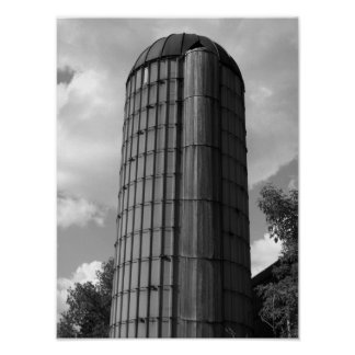 Black and White Midwestern Silo Poster
