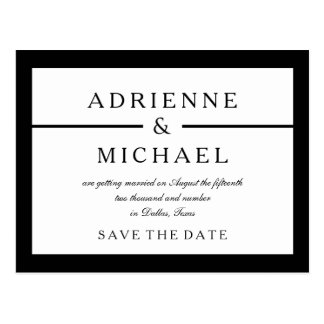 Black and White Minimal Save the Date Postcard
