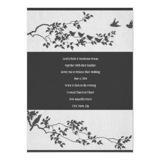 Black and White Minimalist Bird Wedding Invitation