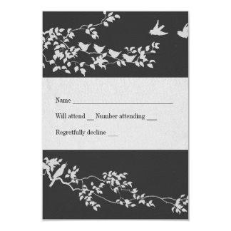 Black and White Minimalist Birds rsvp 9 Cm X 13 Cm Invitation Card