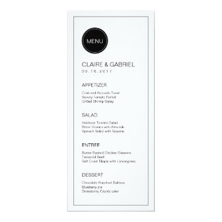 Black and white minimalist modern wedding menu 10 cm x 24 cm invitation card