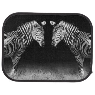 Black and white mirrored zebras car mat