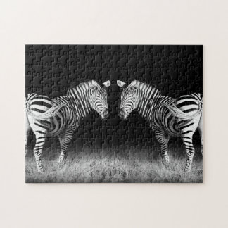 Black and white mirrored zebras jigsaw puzzle