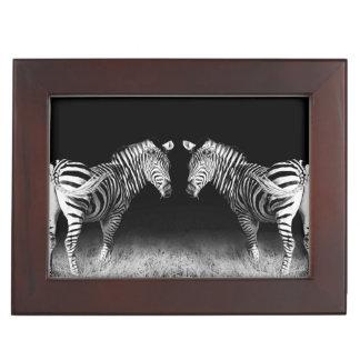 Black and white mirrored zebras keepsake box