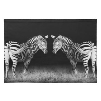 Black and white mirrored zebras placemat