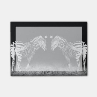 Black and white mirrored zebras post-it notes