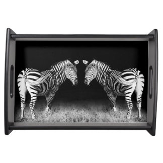 Black and white mirrored zebras serving tray