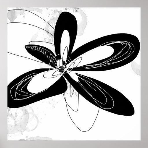 Black and White Mod Flower - - Poster