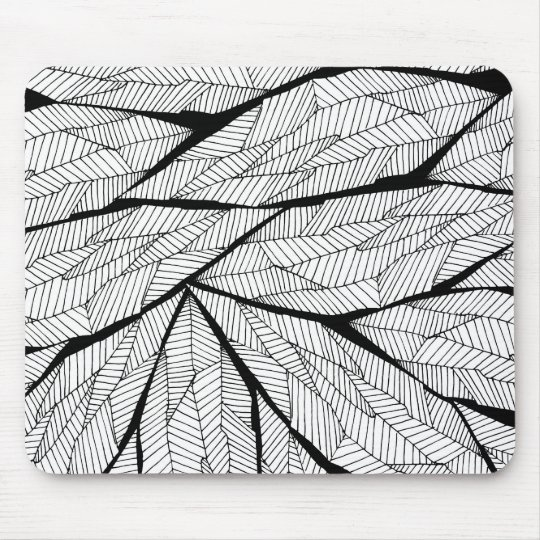 Black and White Modern Abstract Geometric Leaves Mouse