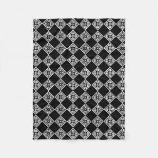 Black And White Modern Art Deco Diamonds Blanket Fleece Blanket
