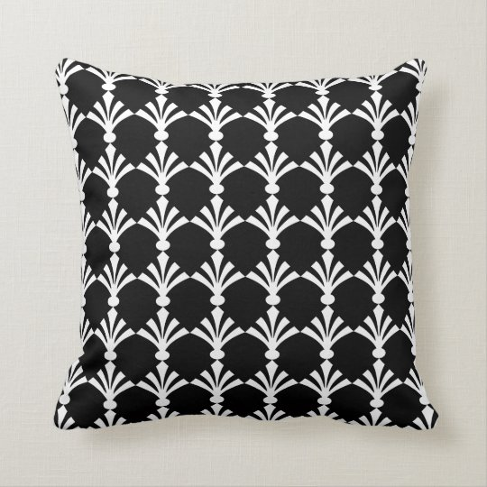 Black And White Modern Art Deco Throw Pillow