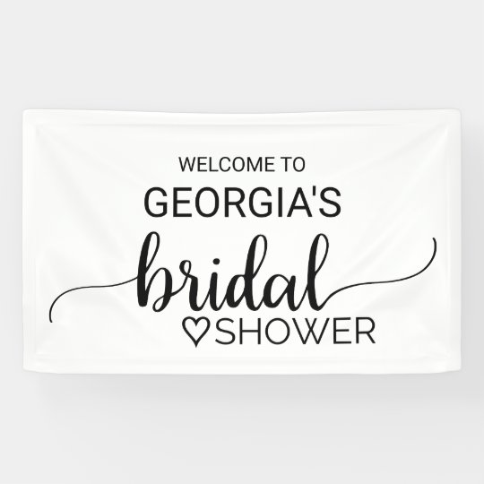 Black and White Modern Calligraphy Bridal Shower Banner