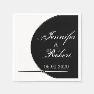 Black and White Modern Circle Posh Wedding Napkins Disposable Napkin