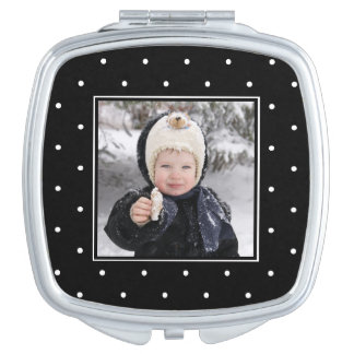 Black and White Modern Dots with Photo Travel Mirror