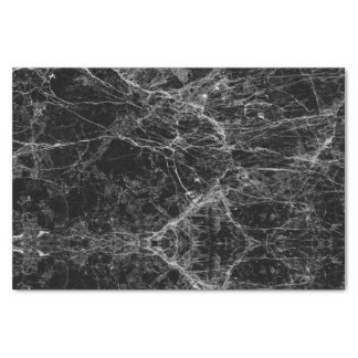 "Black and White Modern Faux Marble Pattern 10"" X 15"" Tissue Paper"