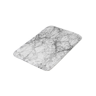 Black and White Modern Faux Marble Pattern Bath Mat