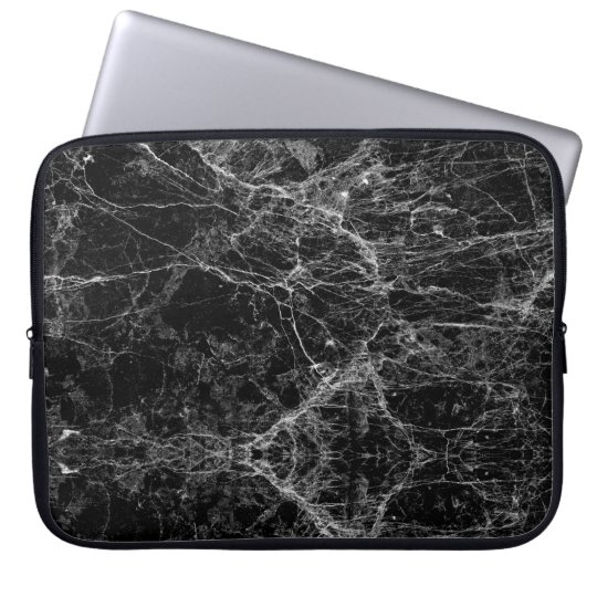 Black and White Modern Faux Marble Pattern Laptop