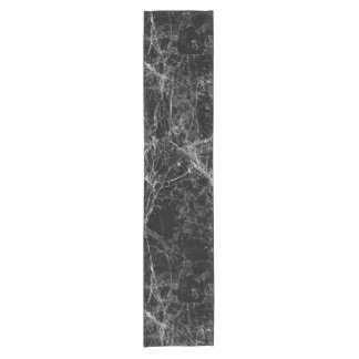 Black and White Modern Faux Marble Pattern Short Table Runner
