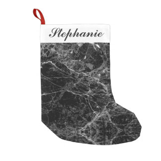 Black and White Modern Faux Marble Pattern Small Christmas Stocking