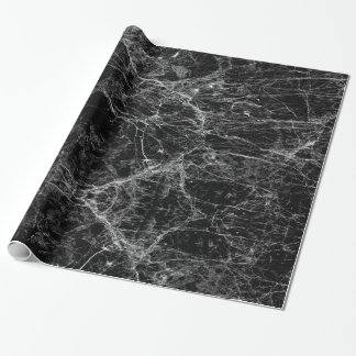 Black and White Modern Faux Marble Pattern Wrapping Paper