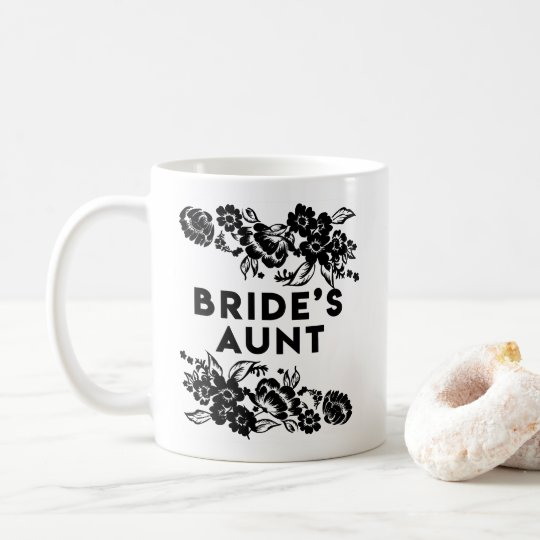 Black and White Modern Floral Accent Bride's Aunt Coffee Mug