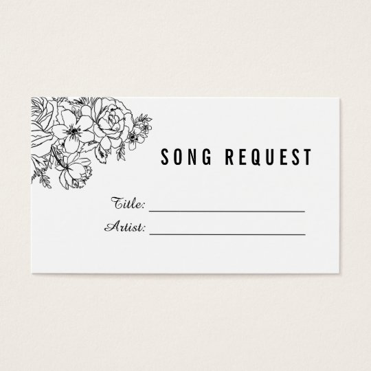 Black and white modern floral song request card