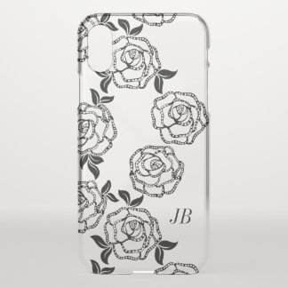 Black And White Modern Flowers Personalised iPhone X Case