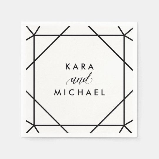 Black and White Modern Geometric Wedding Disposable Serviette
