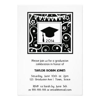 Black and White Modern Graduation Invitations