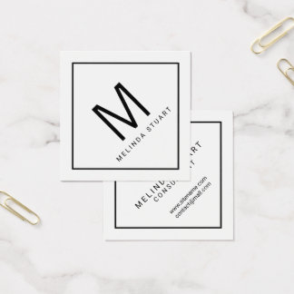 Black and White Modern Monogram Square Business Card