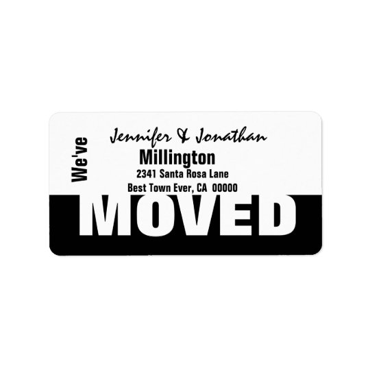 Black and White Modern Simple We've Moved Address Label