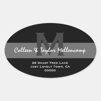 Black and White Modern Wedding Address L001 Oval Sticker