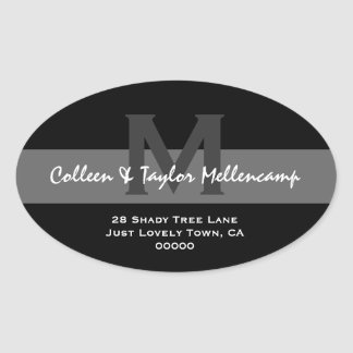 Black and White Modern Wedding Address L001 Oval Stickers