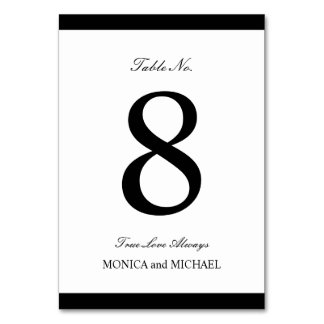 Black and White Modern Wedding Table Number Card