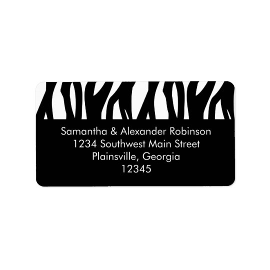 Black and White Modernist Stripe Address Label