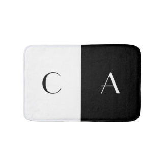 Black and White Monogram Bath Mats