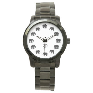 Black and White Monogram Black Elephant Numerals Watch