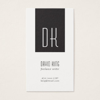 Black and White Monogram Business Card