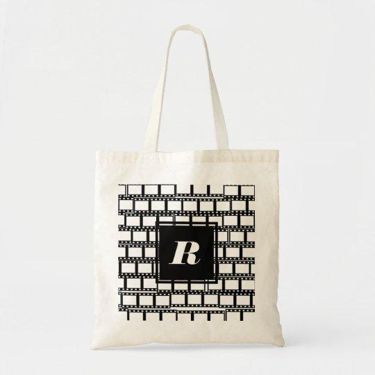 Black and White Monogram Design for Movie Lovers