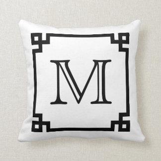 Black And White Monogram Greek Key Cushion