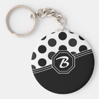 Black and White Monogram Keychain