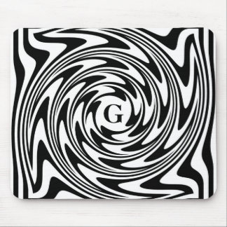 Black and White Monogram Mouse Pad