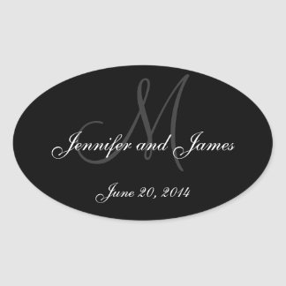 Black and White Monogram Oval Wedding Labels Oval Sticker