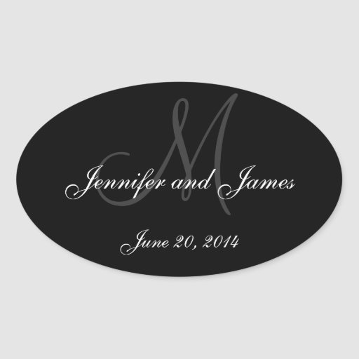Black and White Monogram Oval Wedding Labels Stickers