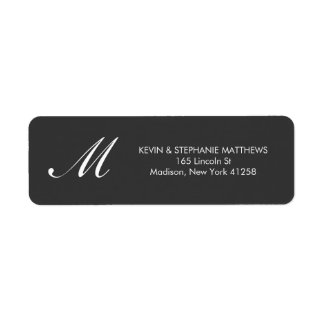 Black and White Monogram Return Address Label