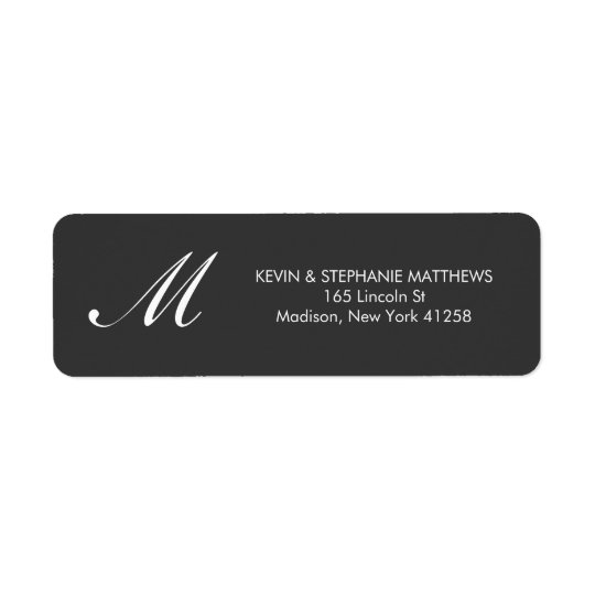 Black and White Monogram Return Address Label