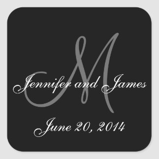 Black and White Monogram Square Wedding Labels