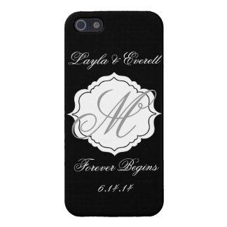 Black and White Monogram Wedding Custom Phone Case Case For iPhone 5